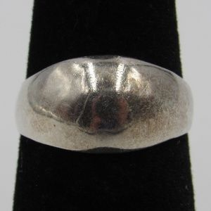 Size 5.25 Sterling Silver Rustic Petite Dome Band